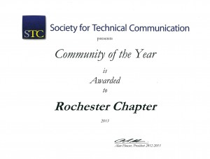 Community of the Year Award Certificate